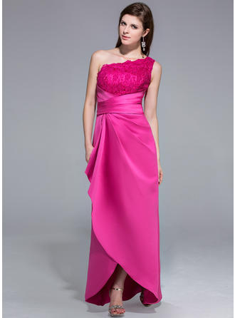 Stunning Satin Lace Evening Dresses Sheath/Column Asymmetrical One-Shoulder Sleeveless