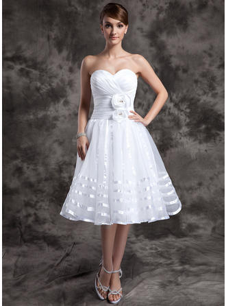 A-Line/Princess Knee-Length Wedding Dress With Ruffle Flower(s)