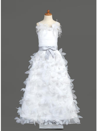 Sweetheart Floor-length A-Line/Princess Flower Girl Dresses Organza/Charmeuse Sleeveless