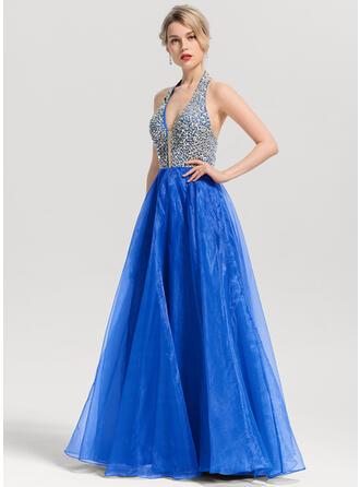 A-Line/Princess V-neck Floor-Length Organza Prom Dresses With Beading Sequins