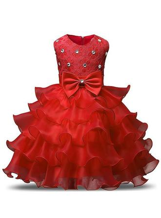 Scoop Neck Ball Gown Flower Girl Dresses Organza Ruffles/Sash/Beading/Bow(s) Sleeveless Tea-length
