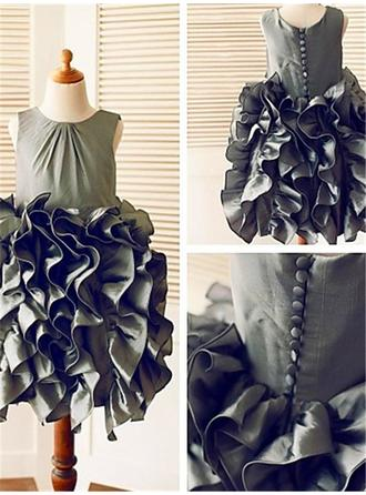 Scoop Neck Ball Gown Flower Girl Dresses Taffeta Ruffles Sleeveless Tea-length