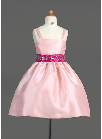 A-Line/Princess Straps Knee-length With Sash/Beading/Sequins Taffeta Flower Girl Dress