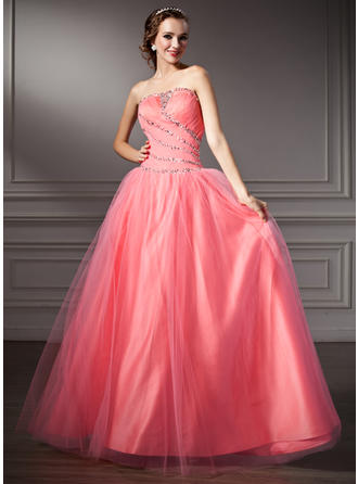 Ball-Gown Strapless Floor-Length Tulle Prom Dress With Ruffle Beading Sequins