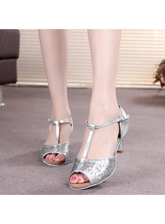Women's Latin Heels Sandals Leatherette Sparkling Glitter With T-Strap Buckle Dance Shoes