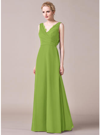 A-Line/Princess Chiffon Bridesmaid Dresses Ruffle Lace V-neck Sleeveless Floor-Length