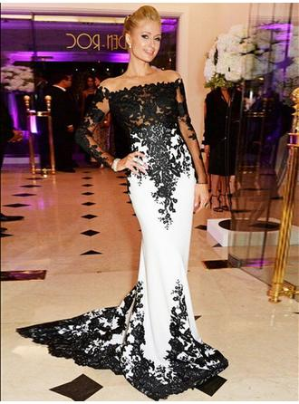 Charmeuse Long Sleeves Trumpet/Mermaid Prom Dresses Scoop Neck Appliques Lace Sweep Train