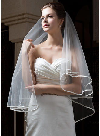 Fingertip Bridal Veils Tulle Two-tier Classic With Ribbon Edge Wedding Veils