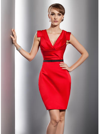 Sheath/Column Glamorous Satin General Plus Cocktail Dresses