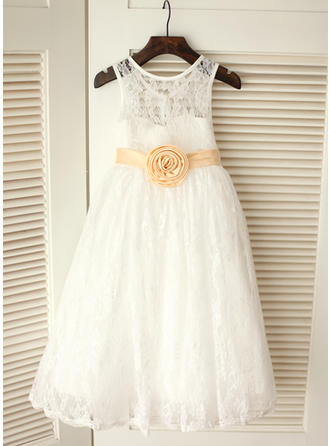 Chic A-Line/Princess Flower Girl Dresses Tea-length Scoop Neck Sleeveless