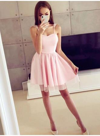 A-Line/Princess Ruffle Homecoming Dresses Square Neckline Sleeveless Short/Mini