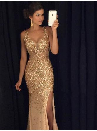 Sheath/Column V-neck Sequined Sleeveless Floor-Length Split Front Evening Dresses
