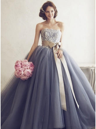 Ball-Gown Sweetheart Floor-Length Tulle Prom Dress With Appliques Lace