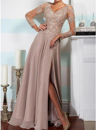 A-Line/Princess V-neck Chiffon Long Sleeves Floor-Length Split Front Evening Dresses