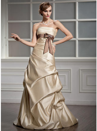 Flattering Court Train A-Line/Princess Wedding Dresses Strapless Satin Sleeveless