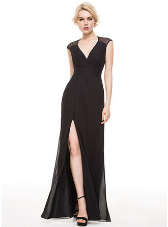 Sheath/Column V-neck Floor-Length Chiffon Evening Dress With Ruffle Split Front