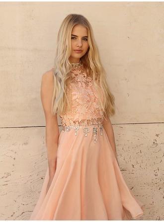Beading Appliques A-Line/Princess Knee-Length Chiffon Homecoming Dresses