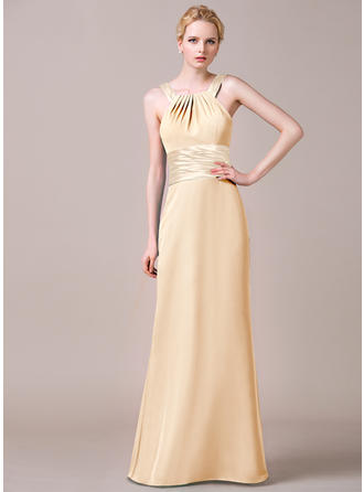 Sheath/Column Chiffon Bridesmaid Dresses Ruffle Scoop Neck Sleeveless Floor-Length