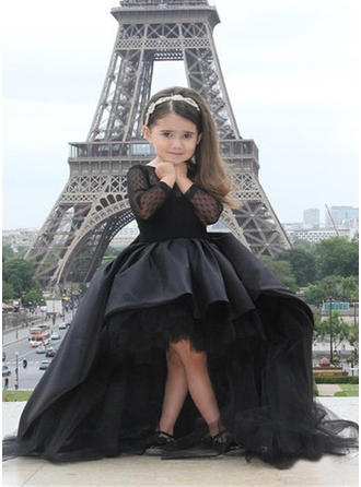 Simple Scoop Neck A-Line/Princess Flower Girl Dresses Asymmetrical Tulle Long Sleeves