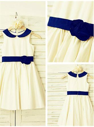 A-line/Princess Scoop Sleeveless Hand-made Flower Tea-Length Satin Flower Girl Dresses