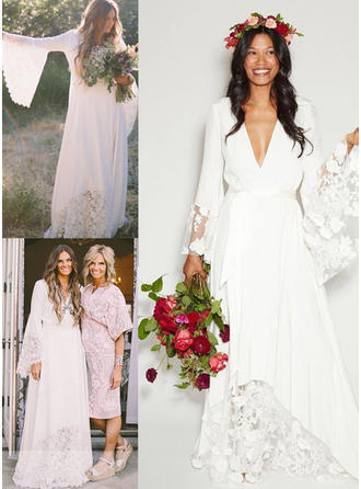 Delicate Chiffon Wedding Dresses A-Line/Princess Floor-Length Deep V Neck Long Sleeves