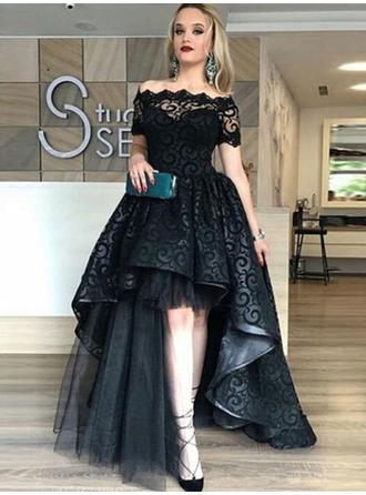 A-Line/Princess Off-the-Shoulder Asymmetrical Evening Dress
