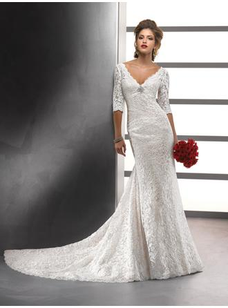 Sheath/Column V-neck Chapel Train Wedding Dresses With Crystal Brooch