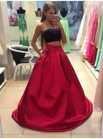 Satin Sleeveless A-Line/Princess Prom Dresses Strapless Floor-Length