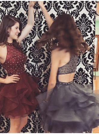 A-Line/Princess Short/Mini Homecoming Dresses High Neck Organza Sleeveless