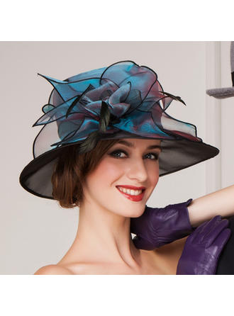 Organza With Feather Bowler/Cloche Hat Beautiful Ladies' Hats