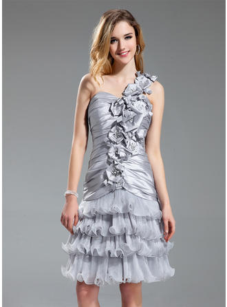 A-Line/Princess One-Shoulder Knee-Length Cocktail Dresses With Beading Flower(s) Cascading Ruffles
