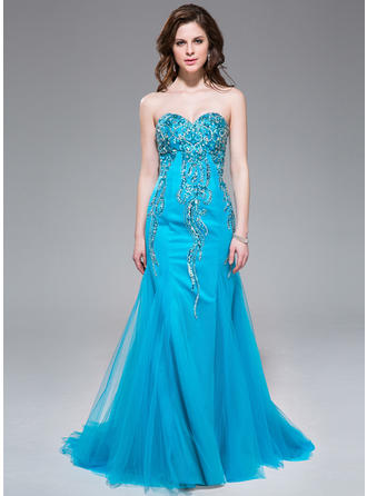 Tulle Sleeveless Trumpet/Mermaid Prom Dresses Sweetheart Beading Sequins Sweep Train