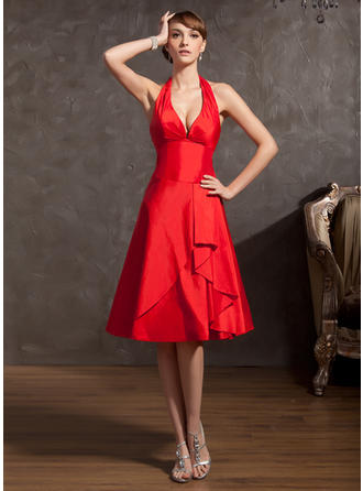 A-Line/Princess Halter Knee-Length Taffeta Homecoming Dresses With Cascading Ruffles