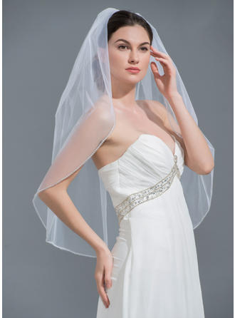 Elbow Bridal Veils Tulle One-tier Oval With Beaded Edge Wedding Veils