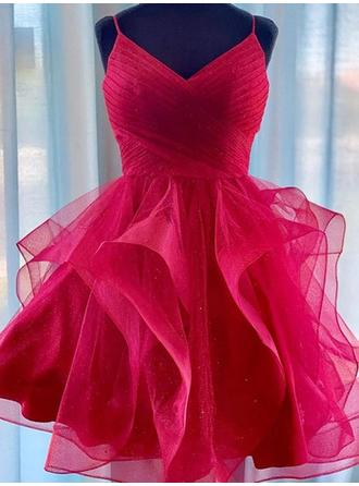 Ruffle V-neck Organza A-Line/Princess Homecoming Dresses