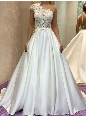 One Shoulder A-Line/Princess Wedding Dresses Satin Lace Sleeveless Sweep Train