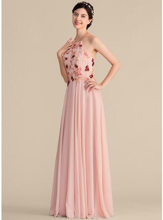Vestidos princesa/ Formato A Decote redondo Longos Tecido de seda Renda Vestido de madrinha