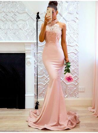Magnificent Satin Evening Dresses Trumpet/Mermaid Sweep Train Halter Sleeveless
