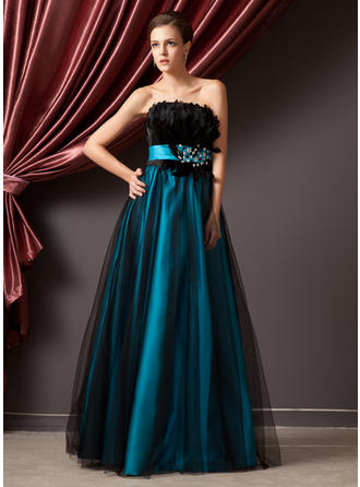 Ball-Gown Strapless Floor-Length Charmeuse Tulle Prom Dress With Beading Feather Sequins