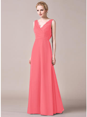 A-Line/Princess Chiffon Bridesmaid Dresses Ruffle Lace V-neck Sleeveless Floor-Length