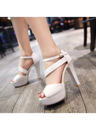 Women's Peep Toe Stiletto Heel Leatherette With Buckle Wedding Shoes