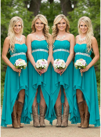 A-Line/Princess Sweetheart Sleeveless Asymmetrical Beading Chiffon Bridesmaid Dresses
