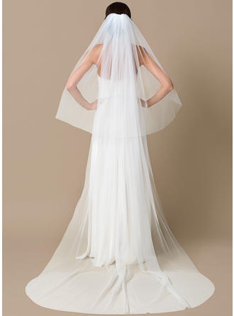 Chapel Bridal Veils Tulle Two-tier Drop Veil With Cut Edge Wedding Veils