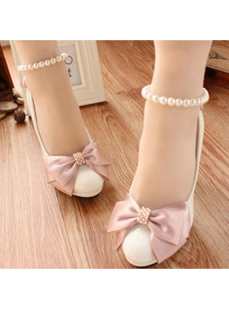 Women's Closed Toe Pumps Stiletto Heel Leatherette With Bowknot Imitation Pearl Wedding Shoes