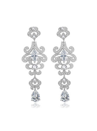 Earrings Copper/Zircon/Platinum Plated Pierced Ladies' Magnificent Wedding & Party Jewelry