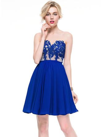 A-Line/Princess Sweetheart Chiffon Sleeveless Short/Mini Beading Appliques Lace Sequins Cocktail Dresses