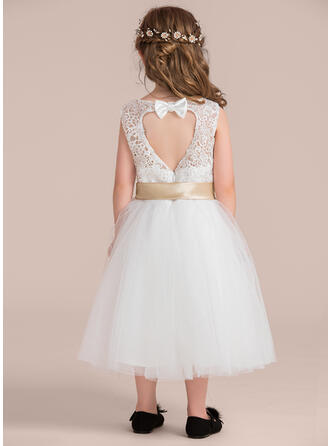 A-Line/Princess Knee-length Flower Girl Dress - Satin/Tulle/Lace Sleeveless Scoop Neck With Back Hole (Detachable sash)