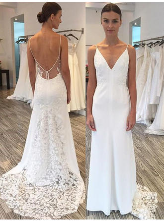 Chic Satin Lace Wedding Dresses Sheath/Column Sweep Train Deep V Neck Sleeveless