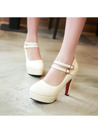 Women's Closed Toe Platform Pumps Stiletto Heel Leatherette With Buckle Wedding Shoes