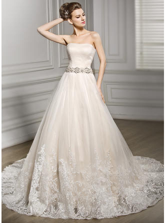 Ball-Gown Sweetheart Court Train Tulle Wedding Dress With Beading Appliques Lace Sequins